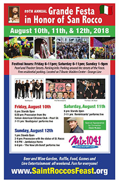 2018 St. Rocco's Feast Save the Date Flyer