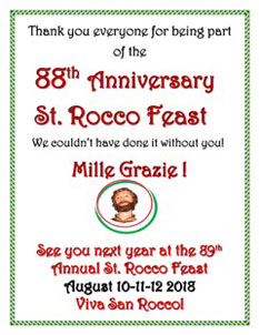 Thank you from the 2017 St. Rocco's Feast